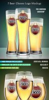 7 Beer Glasses Logo Mock-Up by kotulsky