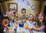 family meal gouache painted by barisgbo