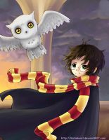 Harry Potter and Hedwig by KteaCrumpet