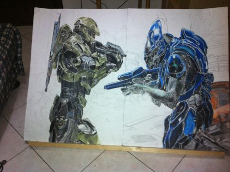 halo 4 Masterchief vs elite covenant WIP by carlolanni