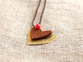Pendant from brass and leather, Brown heart by TildaSFelt