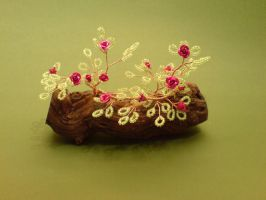 Bonsai Wire Tree Sculpture Beaded Roses by sinisaart