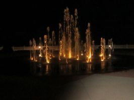 Nightime Fountains by Dozerson