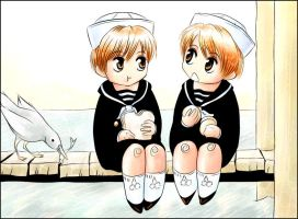 hitachiin twins, age 4 by Wreeth