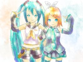 Miku and Rin by saTen0w0