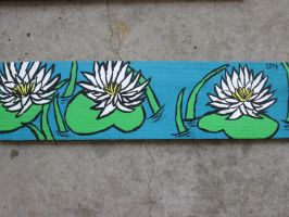 Painted Wooden Board- Water Lillies by JadasArtVision