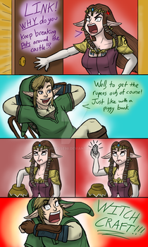 A comic about why Link breaks pots. by InkRose98
