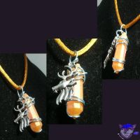 Golden Stag Crystal Necklace by NightWolfRose
