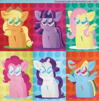 Mane Six Front View by CaramelCookie