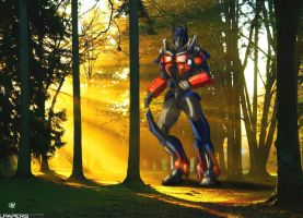 Optimus in the forset by SoulRobot