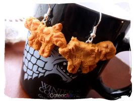 Hot Pie's Direwolf Bread Earrings by Cateaclysmic