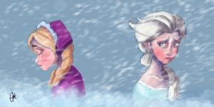 Anna and Elsa - Frozen by Kroizat