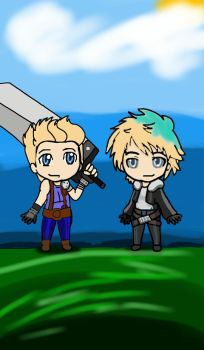 Muke as Cloud and Squall from FF by jonas-spy-89