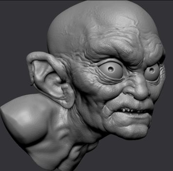 ZBrush Gollum bust by MarkNewman