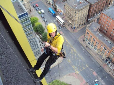Abseiling from Portland tower. by wogsy