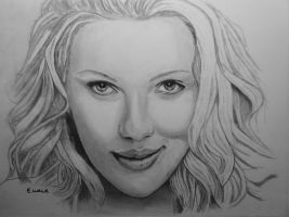 Scarlett Johansson Drawing WIP by EWALK131