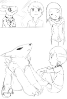 Tamers sketches and Hikari lol by Deko-kun