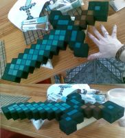 Minecraft Foam Diamond Sword by ellehcore
