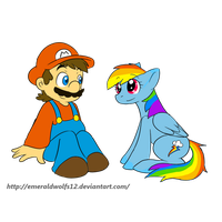 Rq: Mario and Rainbow dash by MariobrosYaoiFan12