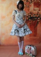 Infanta Worsted Printed Cotton Lolita Dress by miccostumes