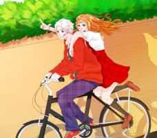 Gil and Eliza on a bicycle by lord-rav3n