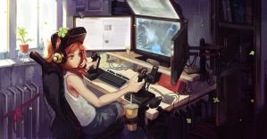 vivian james playing star citizen by Doomfest