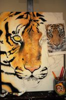 WIP- Tiger Painting by AppleSpirit