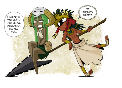 Having fun on my long spear? by Tickity-Tock