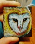 Barn Owl Mini-art Magnet by SpiderMilkshake