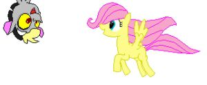 Filly Fluttershy, and Baby Discord pixel art by AlpacaStew