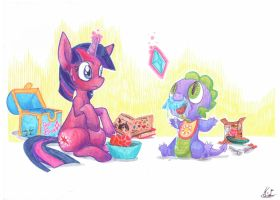 Young Twilight and Baby Spike by Kerui8D
