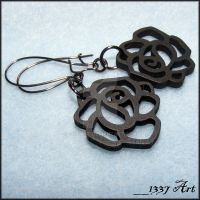 Black Wooden Rose Earrings by 1337-Art