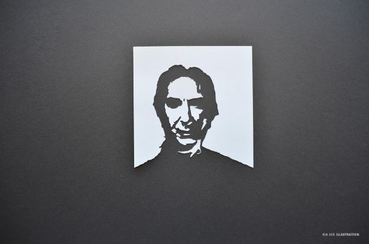 alan rickman portrait papercut by KiaSuee