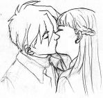 Heero Relena Kiss by heatherbunny