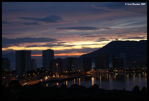 Sunset Over Calpe by kittywinter