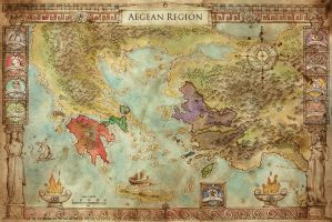 Aegean Region Map - Swords of Kos by FrancescaBaerald