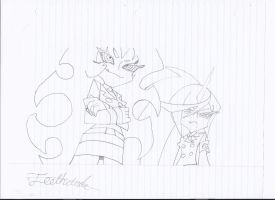 Drawing of Scanty and Kneesocks by Teethdude