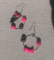 Black Kitty With Pink Bow Ear Rings For my friend by Rini-Dragoone