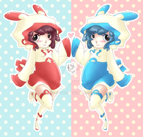 Plusle and Minun Keychain by TaiDaisuke