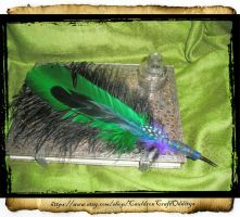 Black Green Ostrich Plume Agave Point Pen by grimdeva