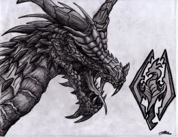 Skyrim dragon by skywolf1998