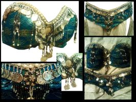 Blue and Pearl Belly Dance Costume by kungfubellydancer