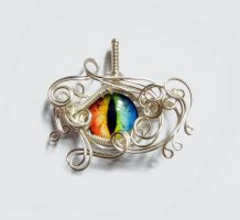 Wire Wrap Glass Rainbow Dragon Eye Pendant by Create-A-Pendant