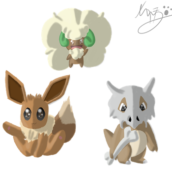 Contest prize: Eevee Cubone  and Whismicott by Axial97
