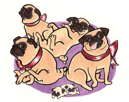 Holiday Pugs by angelaART