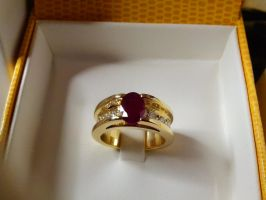 rubis and line ring by Debals