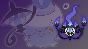Litwick, Lampent and Chandelure Wallpaper by Glench