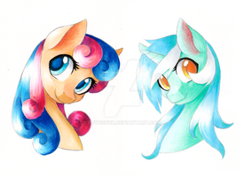 BonBon and Lyra Copic Test by FuyusFox