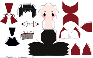 Red Chibi Papercraft by Driickaa