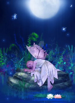 Fairy Resting by the Pond by moonduster
